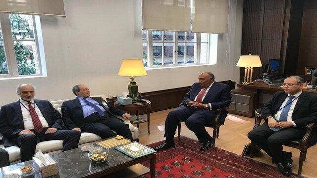 اولین دیدار وزرای خارجه مصر و سوریه پس از ۱۰ سال